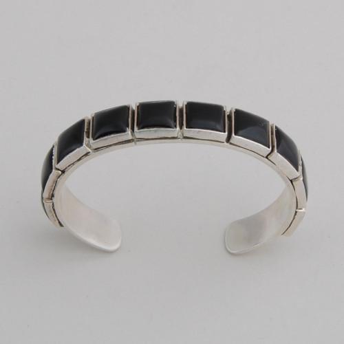 "Sterling Silver Black Onyx 10 Stone Bracelet, Stone Size: 3/8""x 3/8""."