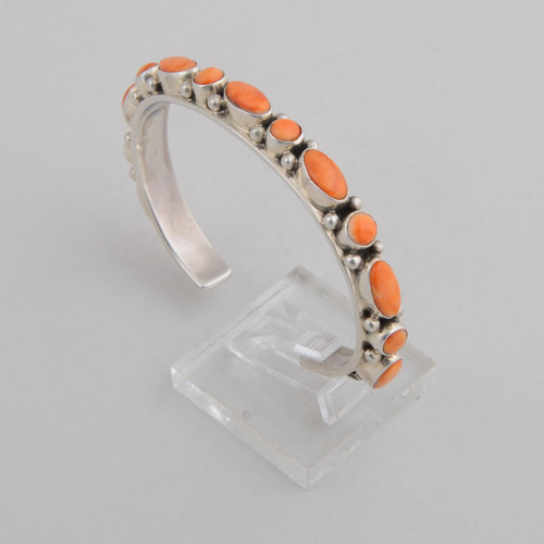 Sterling Silver Cuff w/ Orange Spiny Oyster Shell, Multiple Oval and Round Stones.