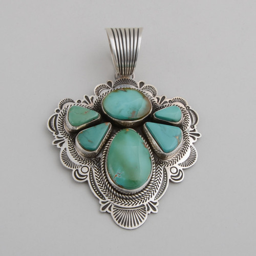 Sterling Silver Angel Pendant with Royston Turquoise.  Detailed Silver Stamp Work
