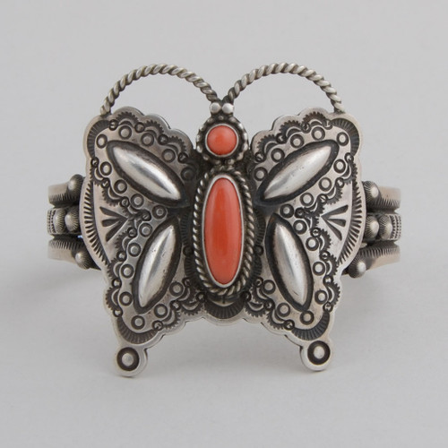 Sterling Silver Cuff w/ Red Coral, Stamped Silver, Butterfly Design.