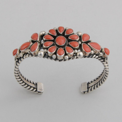 Sterling Silver Cuff w/ Red Coral, Blossom Design w/ Multiple Stones.