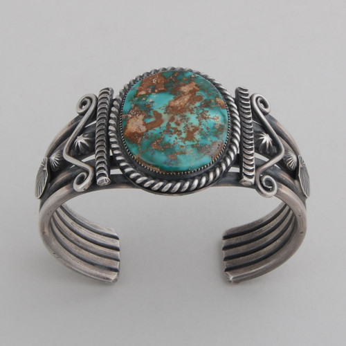 Sterling Silver Cuff w/ Royston Turquoise Oval Stone. Detailed Silver Work.