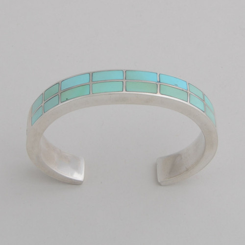 Sterling Silver Blue/Green Nevada Turquoise Double Row Inlaid Bracelet.