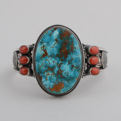 Sterling Silver Cuff w/ Cerrillos Turquoise, Large Oval Stone, Red Coral, 6 Small Oval Stones. Detailed Silver Work.