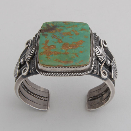 Sterling Silver Cuff w/ Kings Manassa Turquoise, Detailed Silver Work.