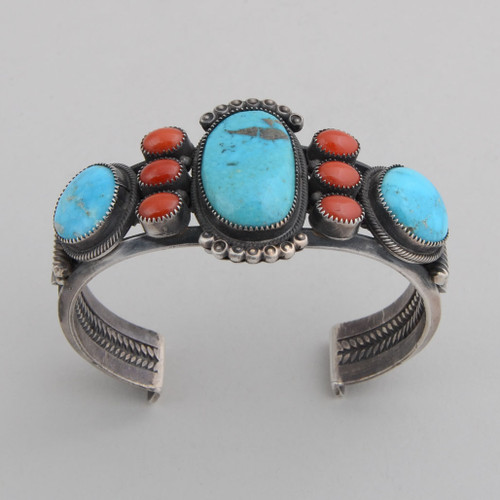 Sterling Silver Cuff w/ Candelaria Turquoise, 3 Stones, Red Coral, 6 Stones. Detailed Silver Work.