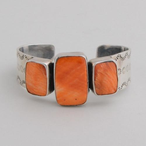 Sterling Silver Orange Spiny Oyster Shell 3 Stone Bracelet,Decorative Sides.