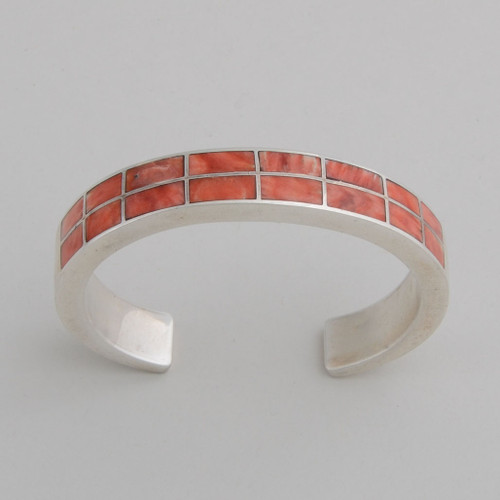 Sterling Silver Orange Spiny Oyster Shell Inlaid Bracelet.