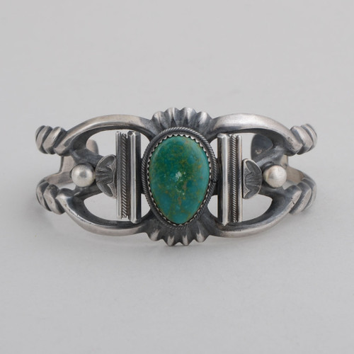 Sterling Silver Cuff w/ Fox Turquoise, Sandcast Silver.