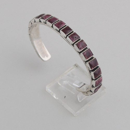 """Sterling Silver Purple Spiny Oyster Shell 1 Row Tile Bracelet, 20 Stones: 1 /4 """" x 1/4"""""""