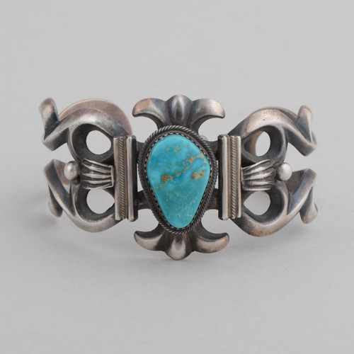 Sterling Silver Cuff w/ Nevada Blue Turquoise, Sandcast Silver.
