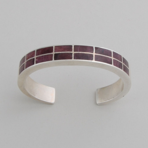 Sterling Silver Purple Spiny Oyster Double Row Inlaid Bracelet /w Decorative Sides.