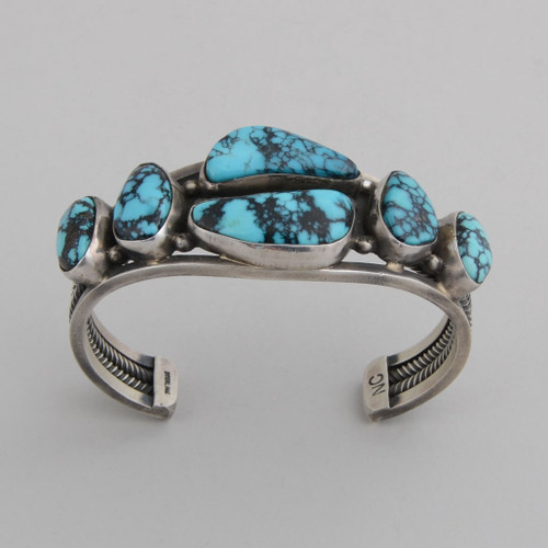 Sterling Silver Cuff w/ Blue Diamond Turquoise, 6 Stones.