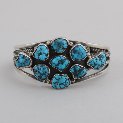 Sterling Silver Cuff w/ Kingman Turquoise, Blossom Design, Multiple Stones.