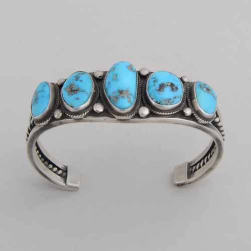 Sterling Sliver Cuff w/ High Grade Sleeping Beauty Turquoise, 7 Stones. Detailed Silver Work.