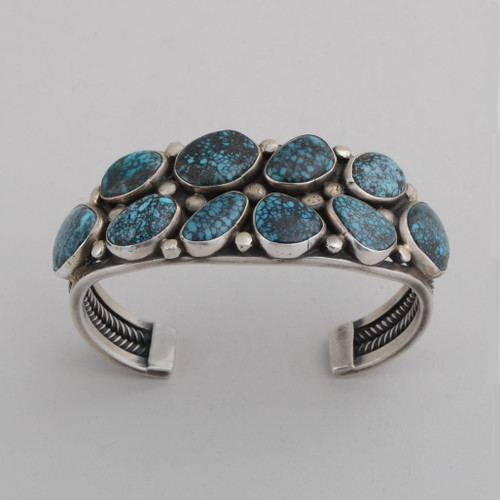 Sterling Silver Cuff w/ Blue Diamond Turquoise, 10 Stones. Detailed Silver Work.