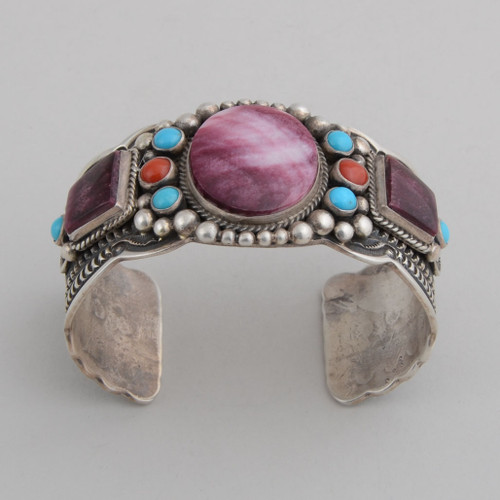 Sterling Silver Cuff w/ Purple Spiny Oyster Shell, Sleeping Beauty Turquoise, Red Coral. Detailed Silver Work.