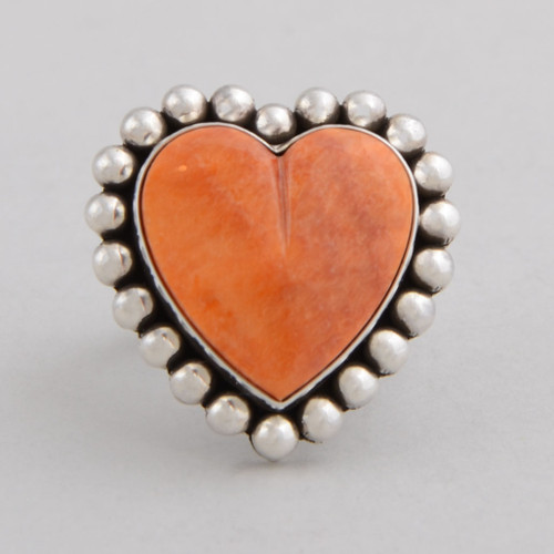 Sterling Silver Ring w/ Orange Spiny Oyster Shell, Heart Shape Design, Hand Made Silver Bead Work.