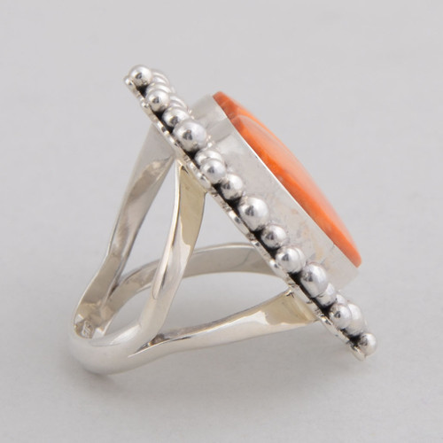 Sterling Silver Ring w/ Orange Spiny Oyster Shell, Heart Shape Design w/ Hand Made Silver Bead Work.