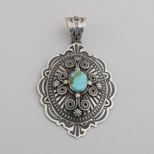 Silver Pendant with Turquoise by Darrell Cadman