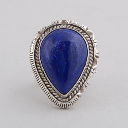 Sterling Silver Ring w/ Lapis Lazuli Tear Drop Design, Detailed Silver Work.