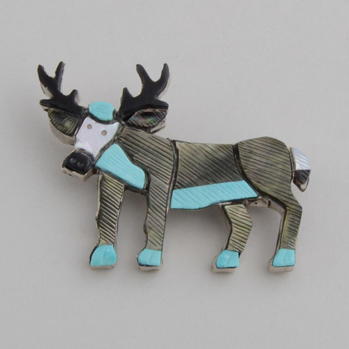 Sterling Silver Zuni Inlay Elk Pin with Jet, Shell, Turquoise and Abolone.
