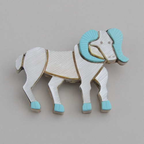 Sterling Silver Zuni Inlay Ram Pin /w Jet, Shell, & Turquoise.