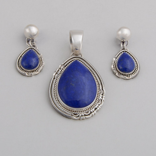 Sterling Silver Set w/ Pendant and Post Earrings. Lapis Lazuli, Detailed Silver Work.