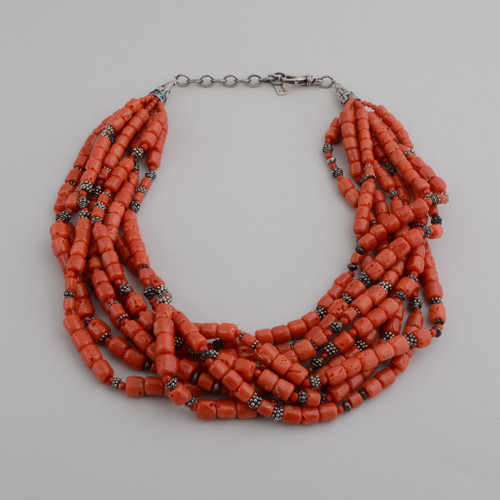 This Peyote Bird necklace has amazing Red Coral with Silver Beads mixed in.