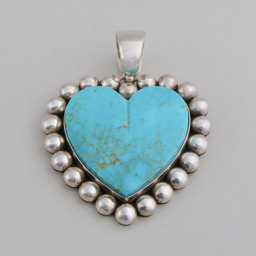 Sterling Silver Pendant w/ Turquoise, Heart Shape Design. Hand Made Silver Bead Work.