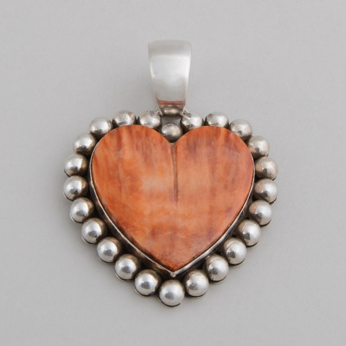 Sterling Silver Pendant w/ Orange Spiny Oyster Shell. Heart Shape Design and Hand Made Silver Bead Work.