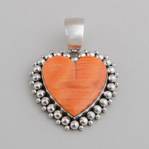 Sterling Silver Pendant w/ Orange Spiny Oyster Shell. Hand Made Silver Bead Work.