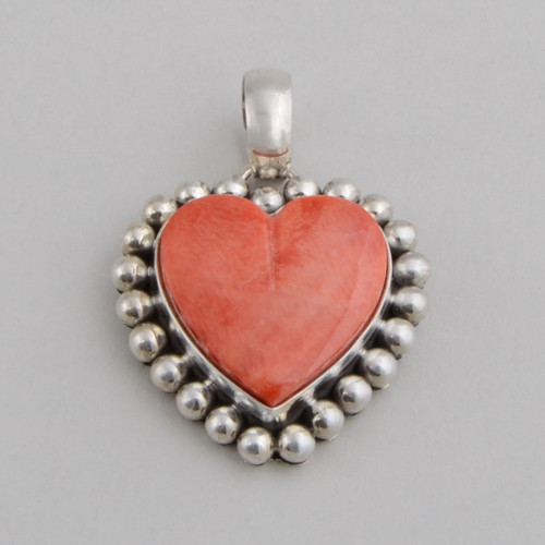 Sterling Silver Pendant w/ Orange Spiny Oyster Shell. Hand Made Silver Bead Work and Heart Shape Design.