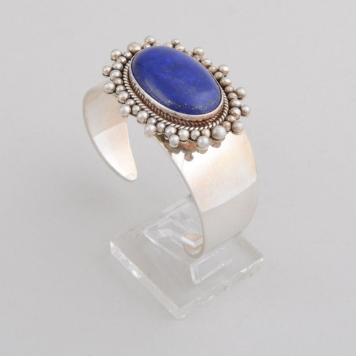 Sterling Silver Cuff w/ Lapis Lazuli, Oval Design. Hand Made Silver Bead Work.