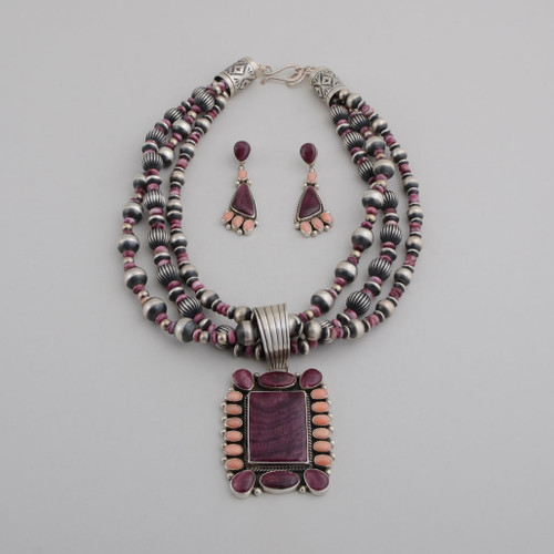 Sterling Silver with Angel Skin Coral and Purple Spiny Oyster Shell Pendant on Three Strands of Beads, with Dangle Earrings.  Pendant Can Be Removed From Beads.  w/Post.