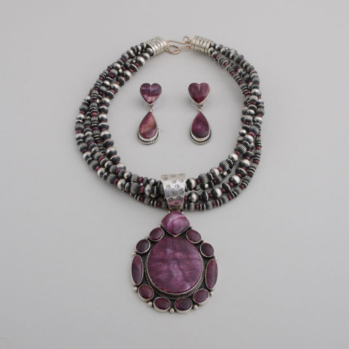 Sterling Silver with Purple Spiny Oyster Shell Pendant on Four Strands of Beads, with Dangle Earrings.  Pendant Can Be Removed From Beads.  Earrings Have Heart and Teardrop shaped Spiny Oyster Shell.  w/ Post.