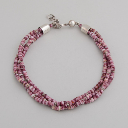 Sterling Silver Necklace w/ Purple Spiny Oyster Beads, 3 Strands and Hook and Eye Clasp.