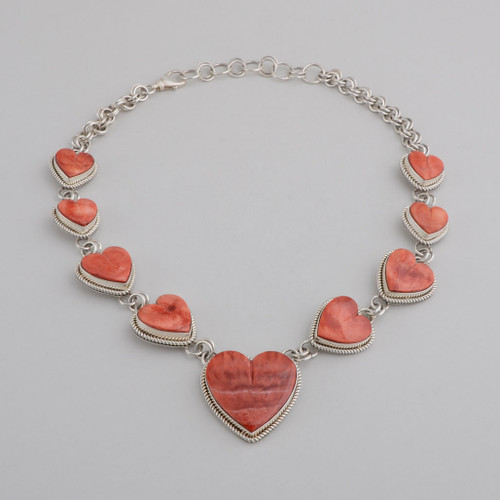 Sterling Silver Necklace w/ Spiny Oyster Shell Heart Design, 9 Hearts. Stamped Silver on Reverse of Hearts, Lobster Clasp.