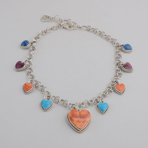Sterling Silver Necklace w/ Orange and Purple Spiny Oyster Shell, Lapis Lazuli, Turquoise. Heart Design, 10 Small Hearts w/ 1 Large Centered Heart w/ Stamped Silver on Reverse Side, Lobster Clasp.
