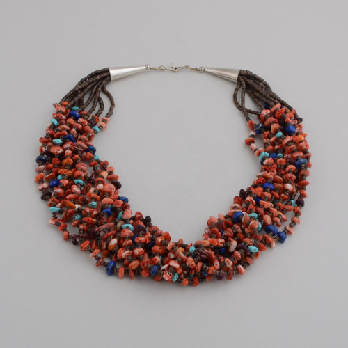 Ten Strands Beads of Heshi, Orange Spiny Oyster Shell, Turquoise, Lapis Lazuli