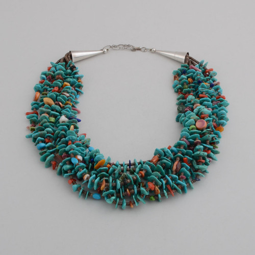 Eight Strands of Beads, including Heshi, Turquoise, Abalone, Gaspeite Spiney Oyster Shell.