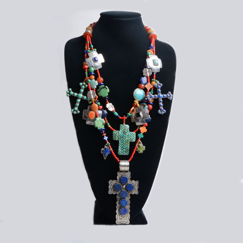 Multi Stone Cross Necklace