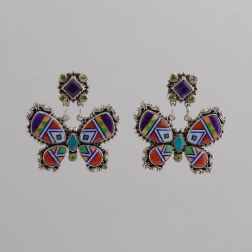 Butterfly Pierced Earrings with Amethyst, Peridot, Sugilite, Red Coral, Natural Opal, Orange Spiny Oyster.