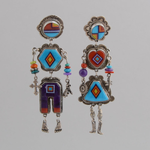 Sterling Silver Earrings with Inlaid Couple. Lady and Gentleman are Done with Hand Cut Stone to Stone Inlay.  Stones Include Sugilite, Spiny Oyster Shell, Red Coral, Natural Opal, Turquoise.  Pierced w/Lever Back