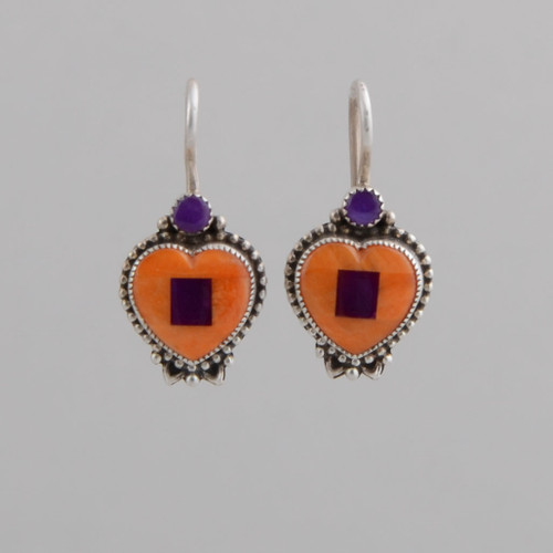 Sterling Silver Heart Earrings with Sugilite and Orange Spiny Oyster Shell. w/ Wire.