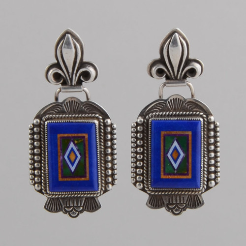 Sterling Silver Earrings with Inlay.  Inlay is Hand Cut Stone to Stone Inlay.  Stones include Lapis Lazuli, Orange Spiny Oyster Shell, Green Turquoise, Natural Opal.  w/Post.