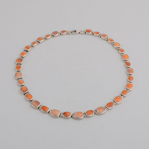 Sterling Silver Necklace w/ Orange Spiny Oyster, Lobster Clasp.