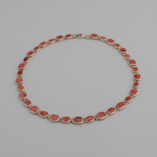 Sterling Silver Necklace /w Orange Spiny Oyster Shell,  Lobster Clasp.