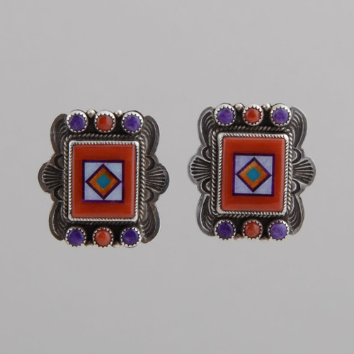 Sterling Silver Earrings with Inlay.  Inlay is Hand Cut, Stone to Stone.  Stones Include Red Coral Natural Opal, Orange Spiny Oyster Shell, Turquoise, Sugilite.  w/ Clip