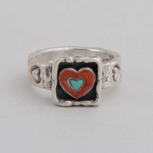 Sterling Silver Ring w/ Red Coral, Turquoise, Heart Design, Detailed Silver Work.
